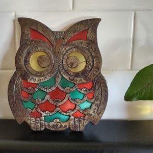 Boho Mid Century Iron Stain Glass Owl Hotplate